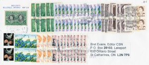 A cover sent to Canadian Stamp News with neatly organized stacks of one-cent stamps, making up the modern 85-cent rate.