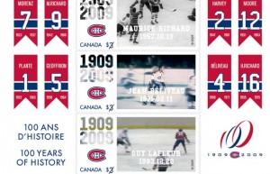On October 17, 2009, Canada Post started issuing a series of stamps commemorating the 100th anniversary of the Montreal Canadiens. The series of four stamps featured Maurice Richard, Jean Béliveau, Guy Lafleur, and a close-up of the retired #9 jersey belonging to «Rocket» Richard.