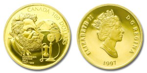 Canada 1997 Alaxander Graham Bell and Telephone Company $100 Gold Proof coin.