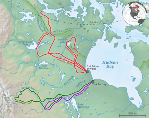 Exploration of Canada's western interior by Henday (1754-1755 in green), Samuel Hearne (1770-1772 in red) and Henry Kelsey (1690-1692 in purple).