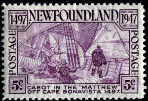 "In 1947, the Newfoundland Post Office featured ""Cabot on the Matthew"" on a five-cent rose/violet stamp (CS # 270) as part of its Cabot issue."
