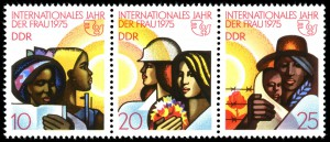 Stamps of the German Democratic Republic depicted women of different nations as well as the United Nations logo.