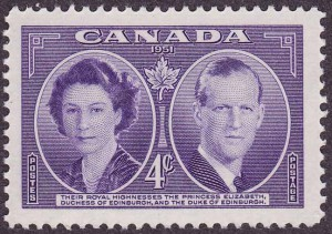Queen Elizabeth II and the Duke of Edinburgh were commemorated on this four-cent stamp in 1951.