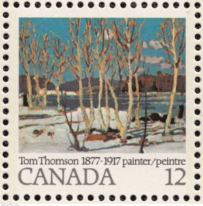 The Thomson stamp was issued as a se-tenant pair (CS #733-4), with another 12-cent stamp featuring his painting Autumn Birches.