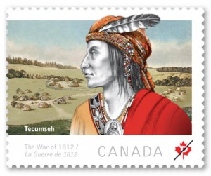 A left-facing portrait of Tecumseh was featured against a backdrop