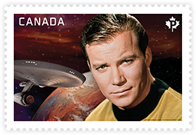 This stamp featuring Captain Kirk was one of two stamps issued by Canada Post on April 6.
