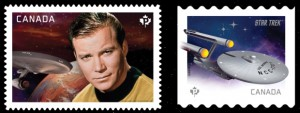 These stamps featuring Captain Kirk (left) and the U.S.S. Enterprise (right) were the first two releases in Canada Post's #StarTrek50 series.