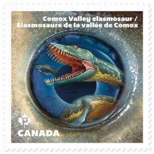 The Comox Valley elasmosaur, a vicious marine reptile, is depicted on this 'Dinos of Canada' stamp.