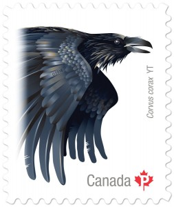 The common raven, of Yukon, is also featured in the five-stamp series.