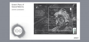 Jersey also issued this first-day cover featuring the Einstein miniature sheet overprinted with the official World Stamp Show NY-2016 logo.
