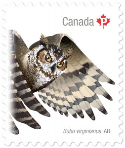 The great horned owl, found in Alberta, is featured on this Birds of Canada stamp.