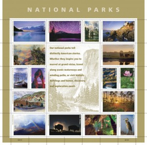 This pane of 16 stamps commemorating the centennial of the U.S. National Parks was issued today by USPS.