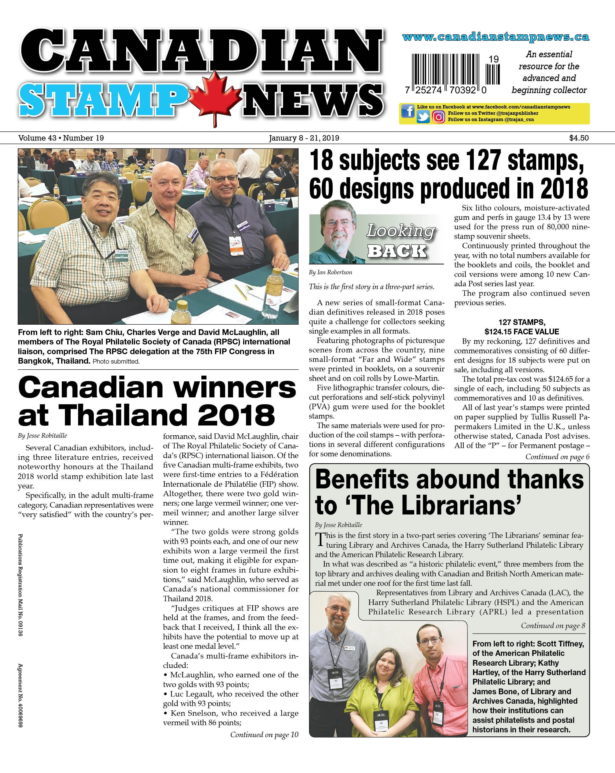 CSNV43#19-Jan8 19Cover - Canadian Stamp News
